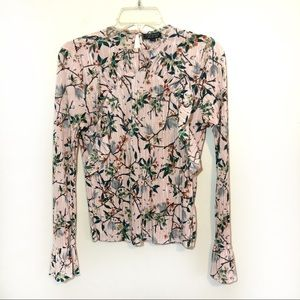 Topshop floral print ruffle top crushed fabric